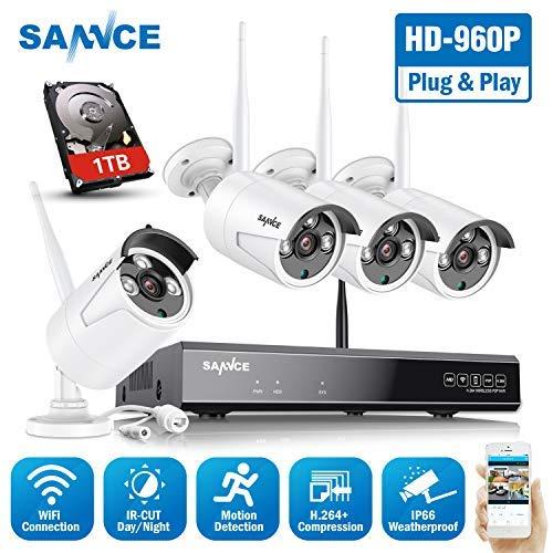 SANNCE Sistema de Cámaras de Vigilancia WiFi Interior H.264 CCTV 8CH 1080P Grabadora NVR + 4 Cámara 1.3MP Inalámbrica Exterior, Acceso Remoto en Móvil -1TB Disco
