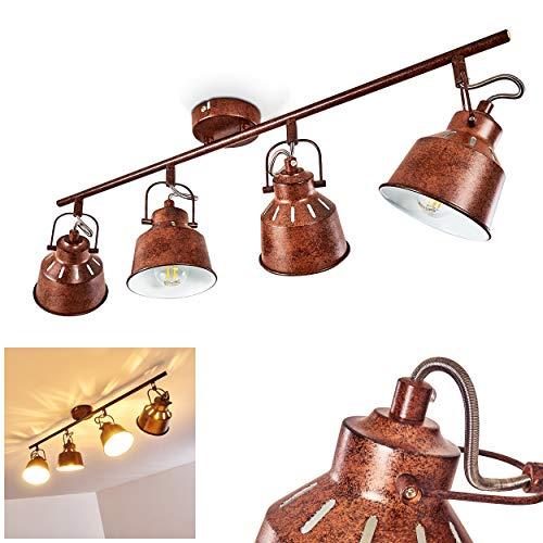 Lámpara de techo Safari, de metal en óxido/blanco, 4 llamas, con focos regulables y efecto de luz...