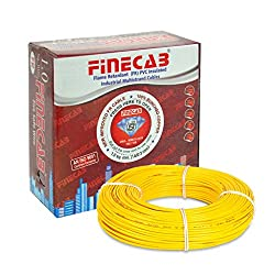 FINECAB PVC Insulated FR Wire 1.0 sq mm wire (Yellow)