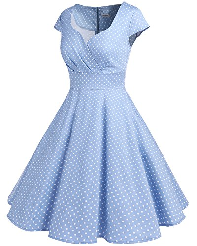 bbonlinedress 1950er Vintage Retro Cocktailkleid Rockabilly V-Ausschnitt Faltenrock Blue Small White Dot S - 2