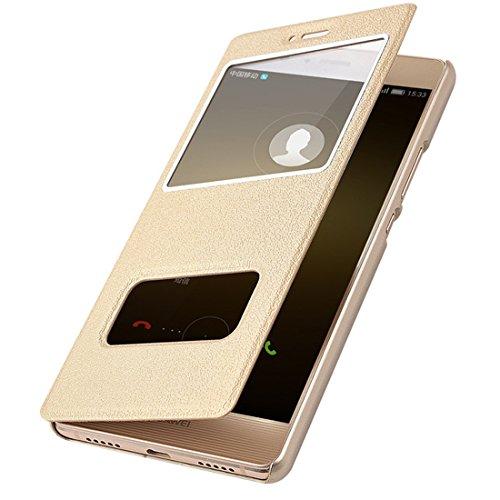 Huawei P9 Lite Custodia, Cover P9 Lite Pu Pelle Portafoglio Bookstyle Flip Cover Stand Case con Chiusa Magnetica Protettiva in Pelle per P9 Lite Huawei (Huawei P9 Lite, Gold)