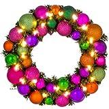 Adventskranz Weihnachtskranz mit Kugeln, Ø 39 cm, multi-color, LED-Beleuchtung, Batteriefach, LILIMO ®