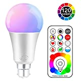 iLC LED Colour Changing Light Bulb with Remote Control RGBW Bayonet - 120 Different Color Choices – RGB Daylight and White Dimmable Coloured – Timing Function - B22 Cap Type for decoration parties & more (2 Packs)