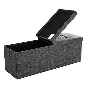 SONGMICS 110 x 38 x 38 cm Faltbarer Sitzhocker 3-Sitzer belastbar bis 300 kg Fußbank Schuhbank Tritthocker leinen…