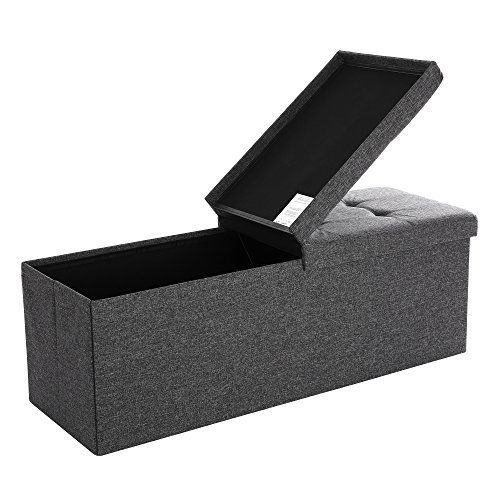 SONGMICS 120L Folding Ottoman Bench Storage Box Storage Cube Flipping Lid Shoe Bench Footstool Load Capacity of 300 Kg Dark Grey 110 x 38 x 38 cm(W x D x H) LSF76GYZ