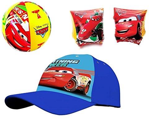 A2z 4 kids® kit n.9 braccioli + cappellino visiera + palla gonfiabile (cars)