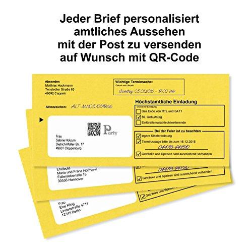 10 Geburtstagseinladungen Zustellung Einladungen für Erwachsene Geburtstag Brief und Umschlag Witzig Lustig Originell - 2