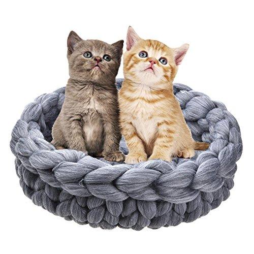 Funihut chat nid - sacco a pelo per cesta per gatto lavorato a maglia, letti di gatto in lana spessa