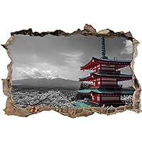 edificio giapponese con montagne sullo sfondo nero / bianco muro passo avanti nel look 3D, parete o in formato adesivo porta: 62x42cm, autoadesivi della parete, autoadesivo della parete, decorazione della parete