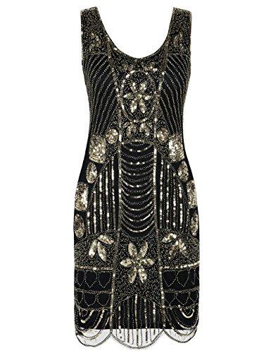 Kayamiya Damen Retro 1920er Perlen Pailletten Blatt Art Deco Gatsby Flapper Kleid M Gold
