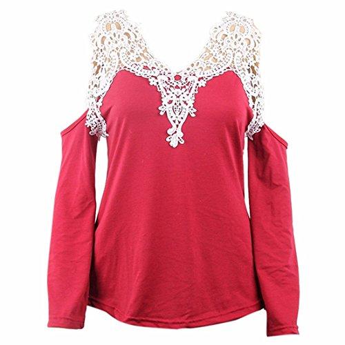 Mode Raglan Schulter weg langen aermeln Blumenspitze Pullover Tops Blusen Shirt Rot