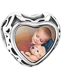SOUFEEL Abalorio Charm Pulsera de Foto Personalizado Plata de Ley Regalo Especial para Navidad Cumpleaño y Aniversario para Madre Mujer Niña