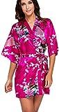 FLYCHEN Damen bunt satin Nachthemden japanische Kiminos Frauen Schlafanzug Roserot L