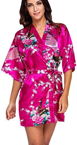 FLYCHEN Donna Accappatoi Kimono da Notte in Raso festa di nozze Camicie da Notte Rose Rosso