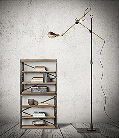 Reading Torchiere Floor Lamp Brass Pole Wrought Iron Base Living Room Bedroom Bedside Lighting Decor Vintage Fishing Long Arm Floor