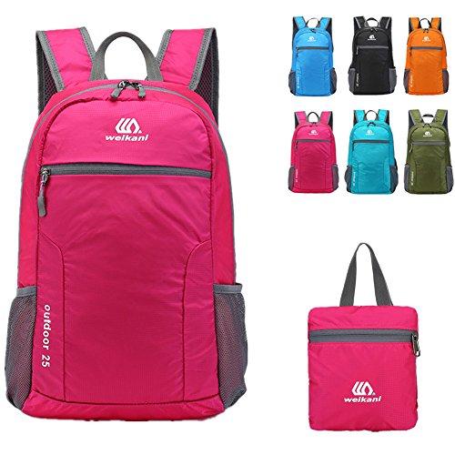 verstaubarer Tagesrucksack, 25l leicht faltbar Rucksack Tasche für Damen und Herren Outdoor Sport Camping Wandern Radfahren Reisen und Schule den täglichen Gebrauch (Rose rot) (25l Tasche)