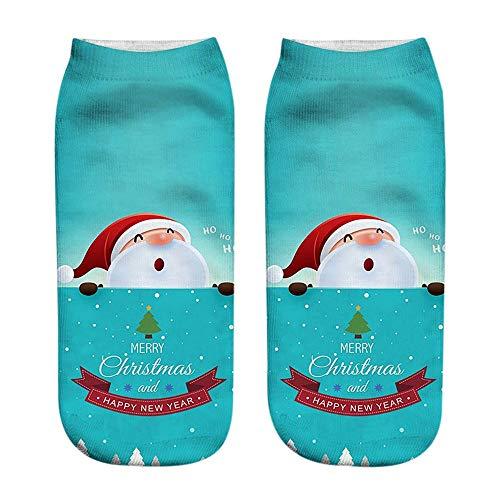 (KaloryWee Heißer Verkauf Damen Socken Weihnachtssocken Baumwolle komfortable Cute Cartoon Hausschuhe mit kurzen Warme Söckchen)