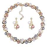 YAZILIND Retro Multicolor Artificielle Perle Twisted Collier Boucles d'oreilles Ensemble Tour de Cou en Alliage réglable pour Les Femmes Classic Jewelry (Gold)...
