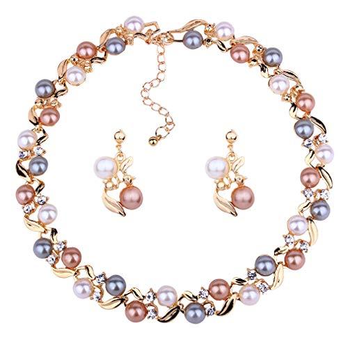 Yazilind Retro Multicolor Künstliche Perle Twisted Halskette Ohrringe Set Einstellbare Legierung Kette Halsband für Frauen Klassische Schmuck (Gold)