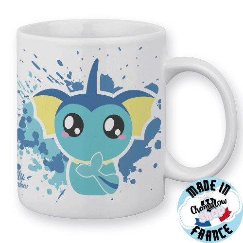 Mug Aquali / Vaporeon (Pokemon) Chibi et Kawaii by Fluffy Chamalow - Fabriqué en France - Chamalow Shop