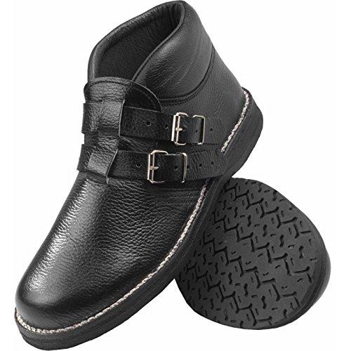 JOB Dachdecker-Schuhe MAX II Leder, halbhoch mit 2 Schnallen, schwarz (44)