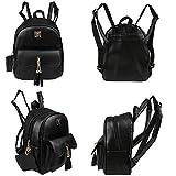 Yimoji PU Leather Backpack Girls College Student School Bag Women Travel Rucksack (Black)