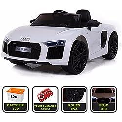 Voiture de sport électrique 12V pour enfant Audi R8 Spyder Cristom® -Télécommande 2.4Ghz- Slot USB et prise MP3 - Licence Audi (blanc)