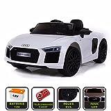 Voiture de sport électrique 12V pour enfant Audi R8 Spyder Cristom -Télécommande 2.4Ghz- Slot USB et prise MP3 - Licence Audi (blanc)