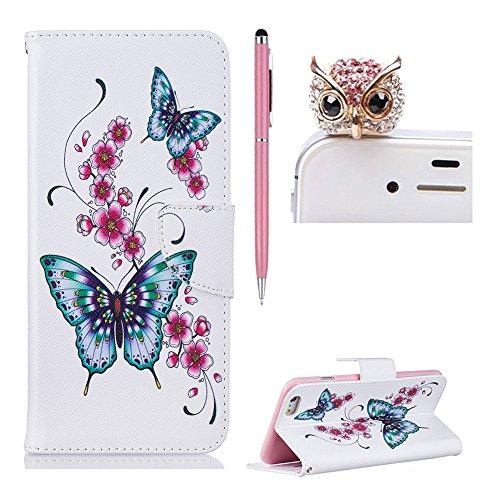 SKYXD für iphone 6 Plus / 6S Plus Hülle Leder Leopard Muster Folio Klappbar Handy Tasche Schutzhülle [Magnet / Brieftasche Kartenfach / Standfunktion] Klapphülle mit [Handyanhänger + Eingabestift] Zub Design 04