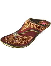Kalra Creations Femme Indienne Traditionnelle - Pantoufles Étui En Cuir, Brun, Taille 41 Eu