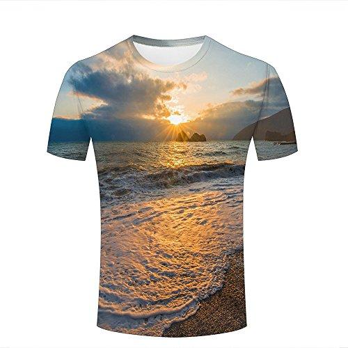 85827f322 para Hombre Crewneck 3D Print T-Shirt Stunning Sunset Sea Wave Creative  Graphic Short Sleeve