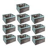10 x keeeper Stabile Profi-Klappbox mit Soft-Touch Griffen, 48 x 34,5 x 23,5 cm, 32 l, Lea, Blau/Taupe