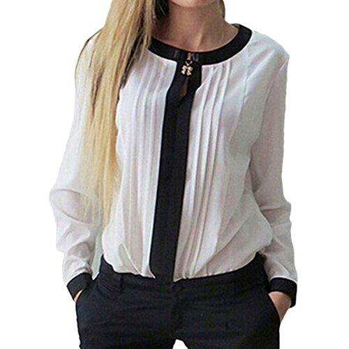 Bigood Top Chemise T-shirt Femme Blouse Mousseline de Soie Col Rond Manches Longues Casual Blanc