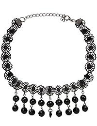 Dancing Girl Black Lace Flower Black Copper Alloy Necklace Sets Jewellery Sets For Women Girls