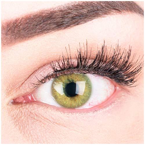 Sehr stark deckende und natürliche grüne Kontaktlinsen SILIKON COMFORT NEUHEIT farbig Jasmine Green + Behälter von GLAMLENS - 1 Paar (2 Stück) - DIA 14.00 - mit Stärke -0.75 Dioptrien