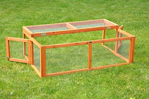 nanook Max – Freigehege zum Anbau für Kaninchenställe, klappbares und verriegelbares Dach, Farbe: natur – Größe S (123 x 80 cm) - 3