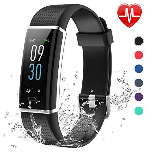Lintelek Fitness Armband,Fitness Tracker mit Pulsmesser 0,96 Zoll Farbdisplay Fitness Uhr Armband Uhr Schlafmonitor Aktivitätstracker 14 Trainingsmodi Vibrationsalarm GPS (Schwarz) MEHRWEG