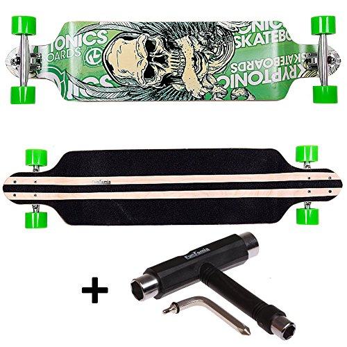 FunTomia® Longboard Skateboard Board Skaten Cruiser Komplettboard mit Mach1® High Speed Kugellager T-Tool (Modell Drop Down - Farbe Grün Totenkopf+T-Tool)