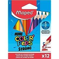 Maped - Crayons de Couleur STRONG Mini Color'Peps - 12 Crayons de Coloriage Ultra-résistants et Ergonomique - Pochette…