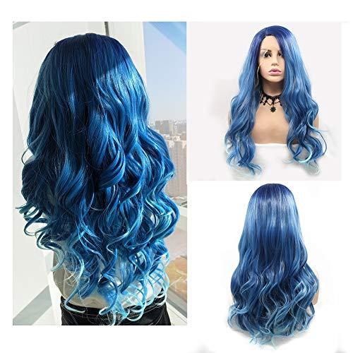 Perücken für Frauen Vordere Spitze-Steigungs-Steigungs-blaues langes lockiges Haar Flaumige große Wellen-Perücke Hochtemperaturfaser-Kunsthaar 24 Zoll (Wahre Der Halloween Von Grund)