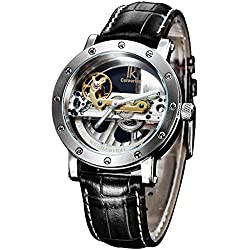 Alienwork IK Automatic Watch Self-winding Skeleton Mechanical Water Resistant 5ATM Leather silver black 98393G-MS-S