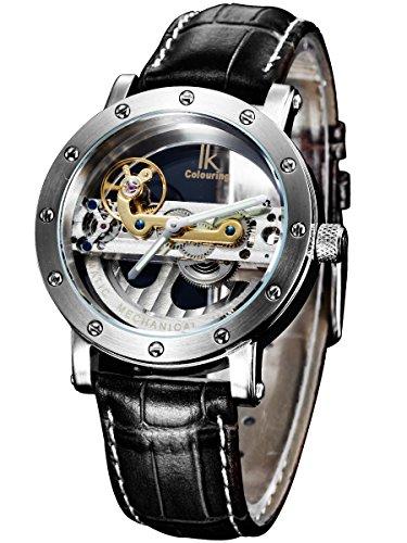Alienwork IK mechanische Automatik Armbanduhr Skelett Automatikuhr Uhr Wasserdicht 5ATM silber schwarz Leder 98393G-MS-S