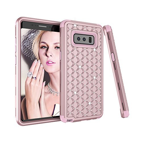 Sumoon 3-in-1-Schutzhülle, für Samsung Galaxy Note 8 2017 (Strasssteinbesatz, Rundumschutz) [stoßfest] Hart-PC-+ Weiche Silikon-Gummi-Schutzhülle Rosegold