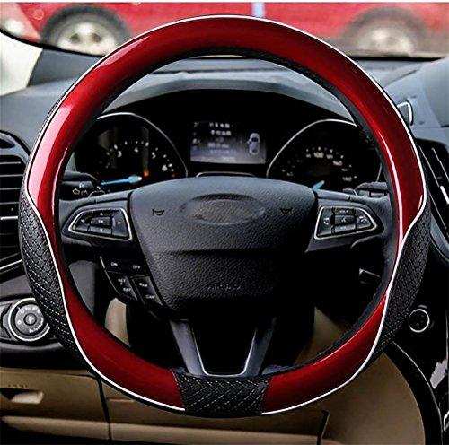 YAYUE Universal Sport Lenkradbezug Echt Leder Lenkradhülle Lenkradabdeckung Lenkradschoner Auto mit Stitching Atmungsaktiv 15 Zoll, red
