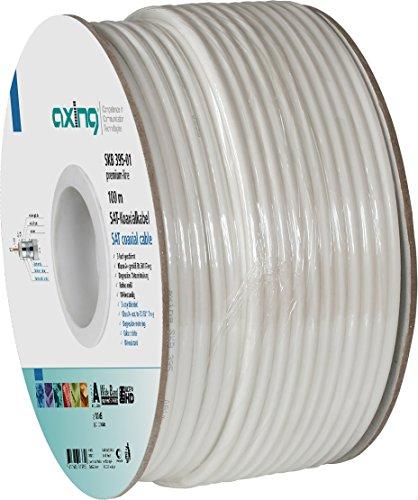 Axing SKB 395-01 Koaxialkabel 3-fach geschirmt für SAT-/BK-Hausinstallation 100 m Ring weiß