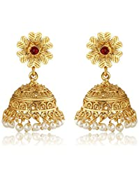 Spargz Wedding Antique Gold Plated Pearl & Red Diamond Bollywood Jhumki Earrings For Women AIER 924
