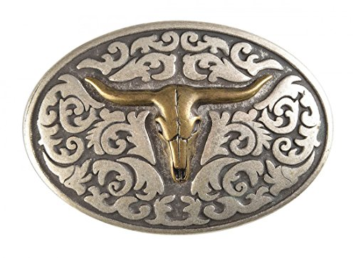 Gürtelschnalle mit Relief - Goldener Stierschädel - Wechselschliesse in edlem Design als besonderes Geschenk