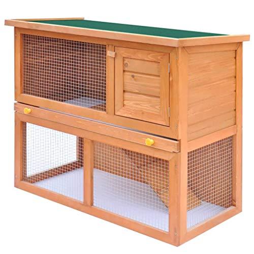Vidaxl legno abete conigliera per esterni 1 ingresso vassoio casetta roditori