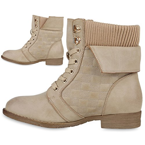 Chaussures bottes pour femme à fermeture éclair avec blockabsatz de travail Creme Gesteppt
