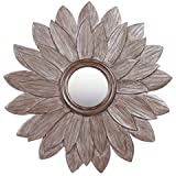 Meher Creation Grey Color Sunflower Shape Frame Wooden Hand Carved Wall Mirror/Makeup Mirror/Decorative Wall Mirror (Size :- 30 X 30 X 1 Inches)